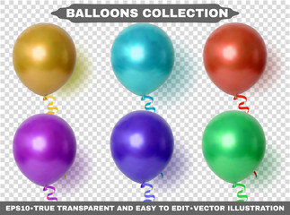 Helium multi colored and realistic glossy balloons