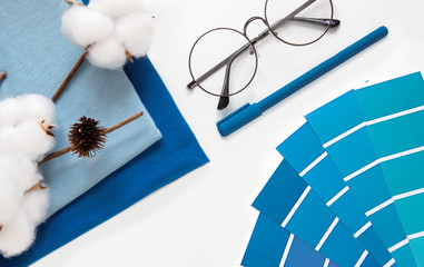 designer desktop. Color sample guide classic blue. color of the year 2020 pantone
