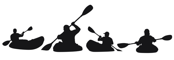 A vector silhouette of men kayaking. Wall mural