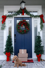 Navy blue front door of contemporary new construction siding gray home decorated for Christmas...