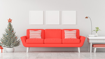 Christmas poster mockup with frame on a white wall background, Red sofa in the white living room - 3D Rendering