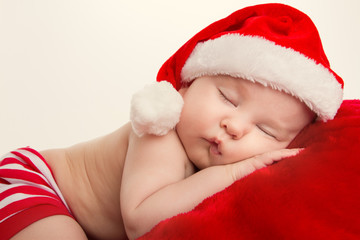 Christmas Portrait of sleeping baby