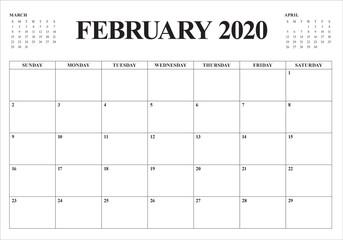 February 2020 desk calendar vector illustration