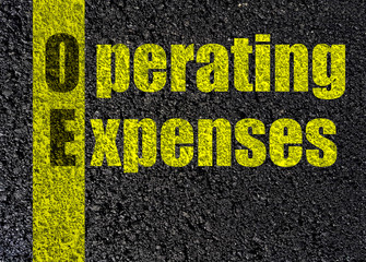 operating expenses text,  asphalt black   top view background