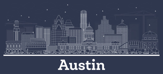 Wall Mural - Outline Austin Texas City Skyline with White Buildings.
