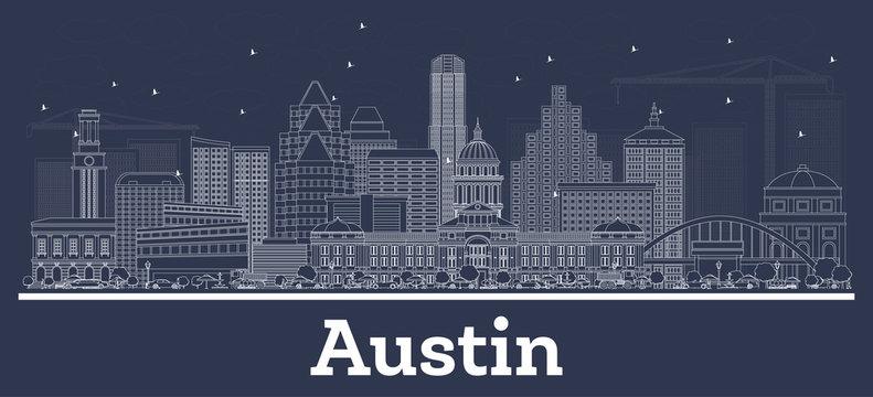 Outline Austin Texas City Skyline with White Buildings.