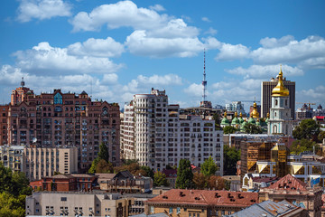 Fototapete - Kiev , Ukraine - August 30, 2019 : Downttown rooftops cityscape skyline