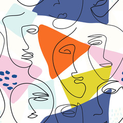 Modern one line face seamless pattern with abstract background. For fabric, cards, print. Bright, rich colors. Women's faces.