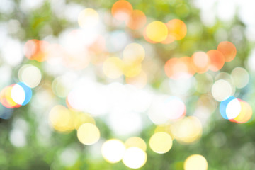 Foto auf Acrylglas Gelb Schwefelsäure Colorful abstract green bokeh out of focus background from tree in nature
