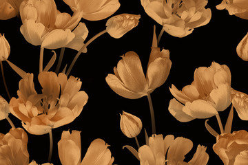 Vintage floral seamless pattern. Beautiful spring gold flowers tulips on black. Fashion background. Design for paper, wallpaper, decoration packaging, textile. Illustration art.