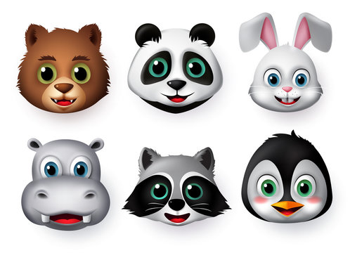 Animals emoji and emoticon happy face vector set. Emojis or emoticons of animals creature like bear, panda, rabbit, hippopotamus, wolf and penguin character in smiling facial expressions.