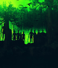 Forest of the zombies,3d rendering