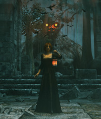 Medieval princess with lantern at night haunted by the undead,3d rendering