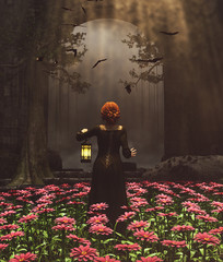 Medieval princess with lantern at night secret garden,3d rendering