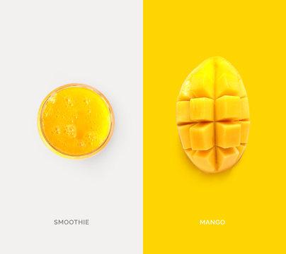 Creative layout made of mango juice and mango. Flat lay. Food concept. Macro concept.