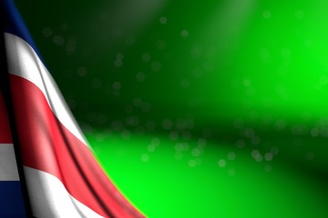 nice any feast flag 3d illustration. - picture of Costa Rica flag hanging in corner on green with bokeh and free place for text