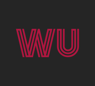 Initial two letter red line shape logo on black vector WU