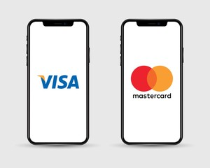 Apple Iphone with different mobile online shopping application logos: Visa Pay and Mastercard Pay