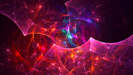 Aluminium Prints Fractal waves 3D rendering abstract red fractal light background