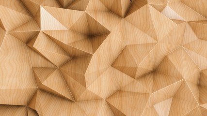 Fotobehang Hout Polygonal abstract background with wood texture