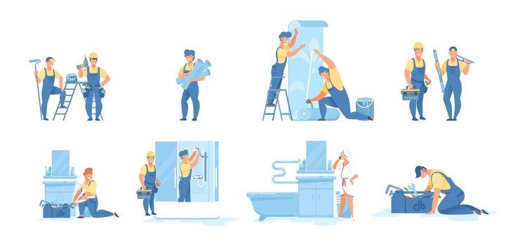 Cartoon Repairmen at Work Vector Scenes Flat Set