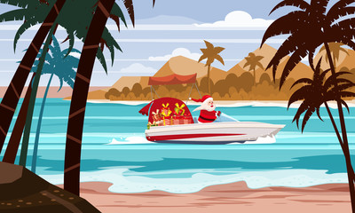 Merry Christmas Santa Claus on speed boat on ocean sea tropical island palms mountains seaside