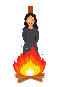 witch burn at the stake. victim of religious error. Flat vector illustration.