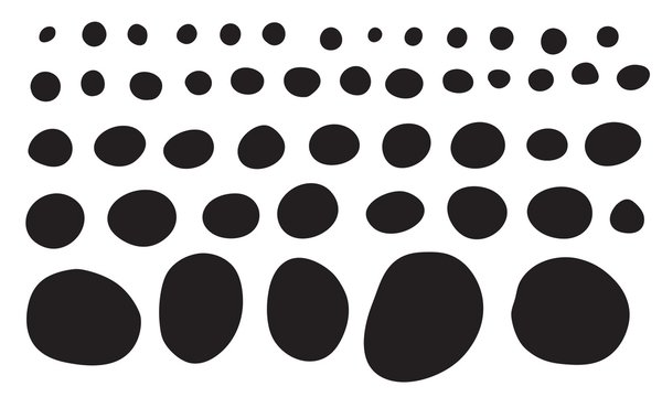 Doodle shapes collection. Black silhoettes of imperfect circles