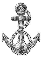 An anchor from a boat or ship with a rope wrapped around it tattoo or retro style woodcut etching drawing in a vintage style