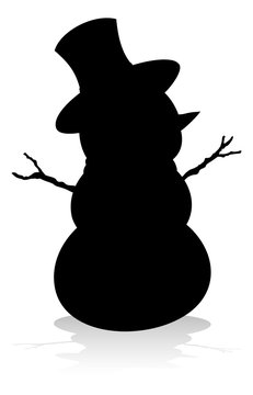 A Christmas snowman in silhouette outline graphic
