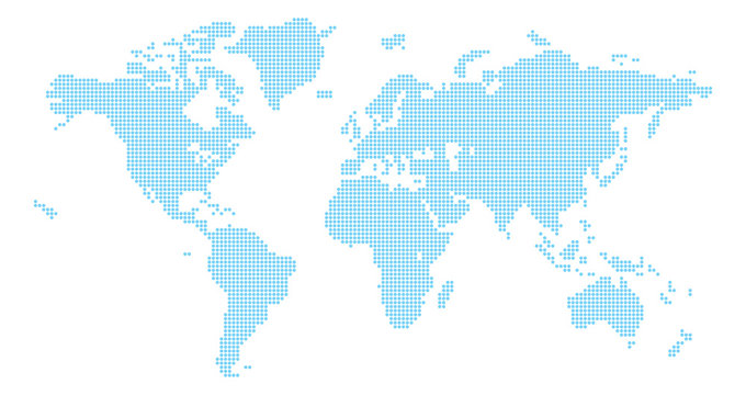A world map background made of circles or dot shapes