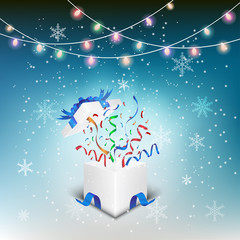 Gift box opening celebrated with snow flex background