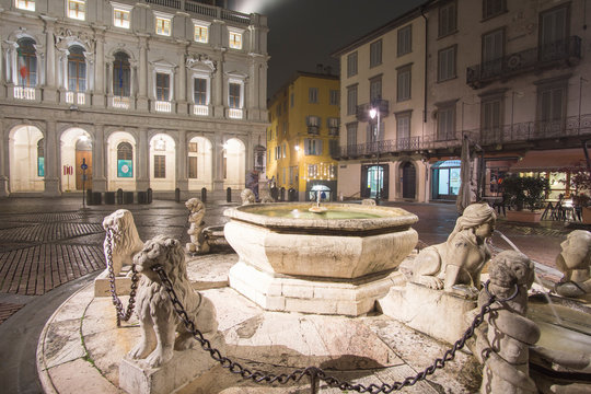 BERGAMO ITALY:  Upper city of Bergamo by night is a city in the alpine Lombardy region of northern Italy on November 22, 2019