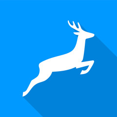 Flat white deer icon with a long shadow on a blue background.