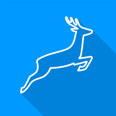 Flat white deer outline icon with a long shadow on a blue background.