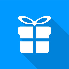Flat white gift box icon with a long shadow on a blue background.