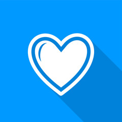 Flat white heart icon with a long shadow on a blue background.