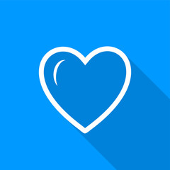 Flat white heart outline icon with a long shadow on a blue background.