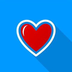 Flat red heart icon with a long shadow on a blue background.