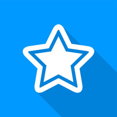 Flat white star icon with a long shadow on a blue background.