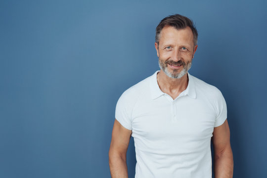 Attractive casual bearded man in a white t-shirt