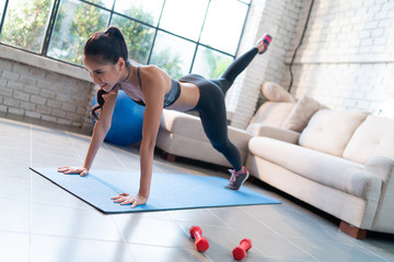Healthy woman she exercise at home