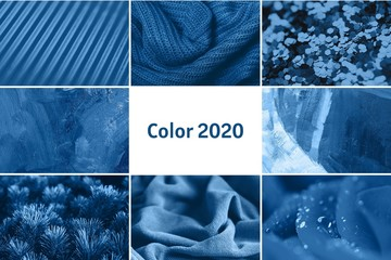 Collage of nice textures in blue colors. Knitted scarf, drops of water, plants, glitter, canvas with oil paint. The concept of beauty, art, creativity.