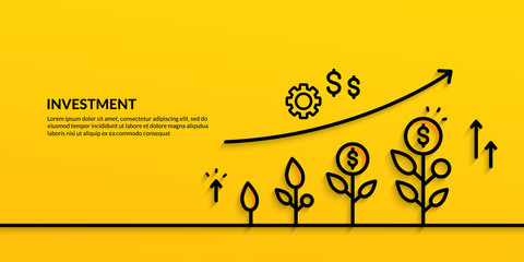 Obraz Invesment on yellow background, growing business finance concpet - fototapety do salonu
