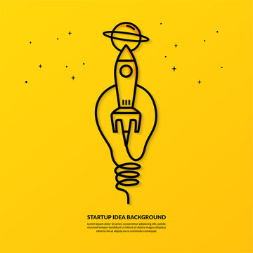 Rocket launching with light bulb on yellow background, flat start up idea concept