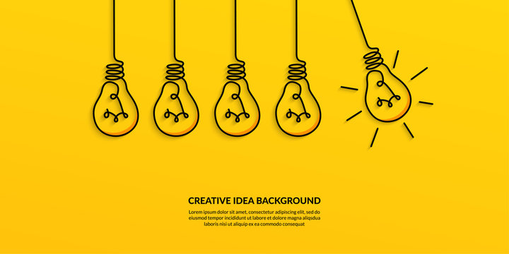 Creative idea concept with light bulb on yellow background