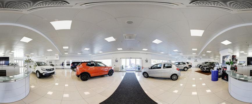 360 degree panorama of a modern car dealership