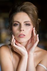 Obraz portret beuty twarz kobiety - fototapety do salonu