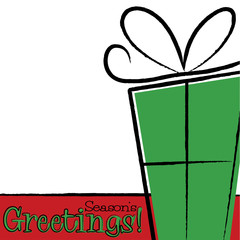 Bright Hand Drawing Christmas Present card in vector format