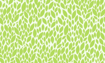 Leaves Seamless Pattern. Green on White Simple Leaves Nature Pattern. Vector EPS 10.